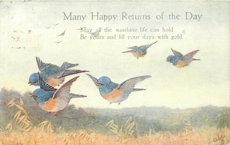 MANY HAPPY RETURNS OF THE DAY  five blue birds