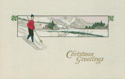 CHRISTMAS GREETINGS  boy skis in red sweater with snow covered landscape behind