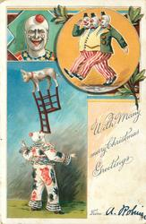 WITH MANY MERRY CHRISTMAS GREETINGS  clown balancing chair with dog on top, clowns in two insets above