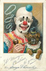 A MERRY CHRISTMAS TO YOU  clowns holds dressed pug & helps it smoke a pipe