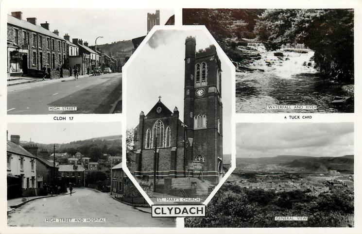 5 insets HIGH STREET/WATERFALL AND RIVER/ST. MARY'S CHURCH/HIGH STREET AND HOSPITAL/GENERAL VIEW