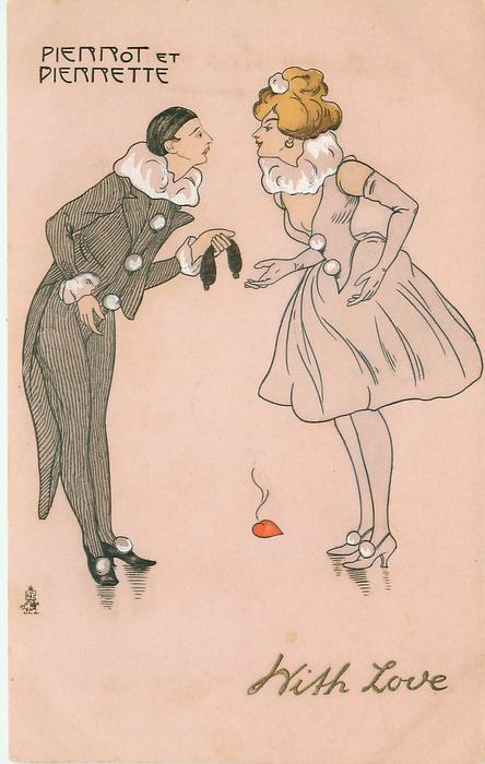 Pierrot offers mask to Pierrette, heart on floor