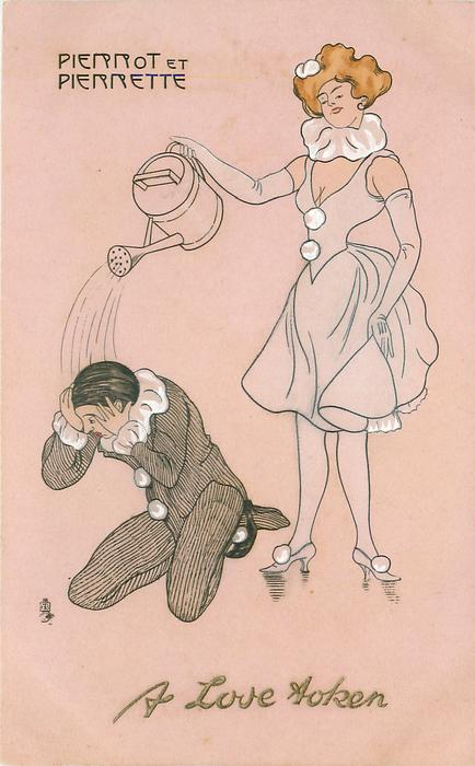 Pierrot kneels, Pierrette douses him with watering can