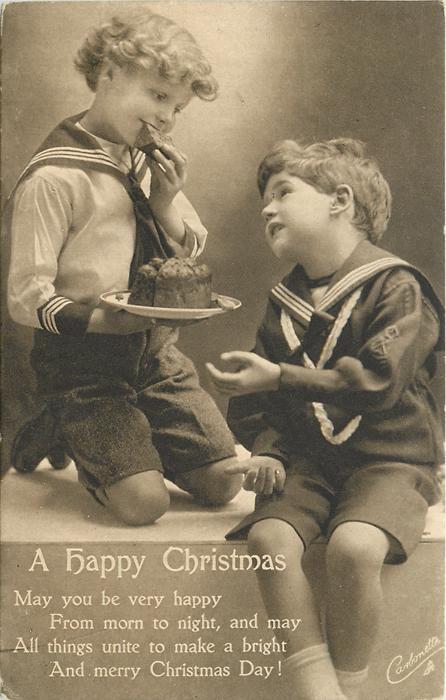 A HAPPY CHRISTMAS  (boy in light sailor suit eats cake)