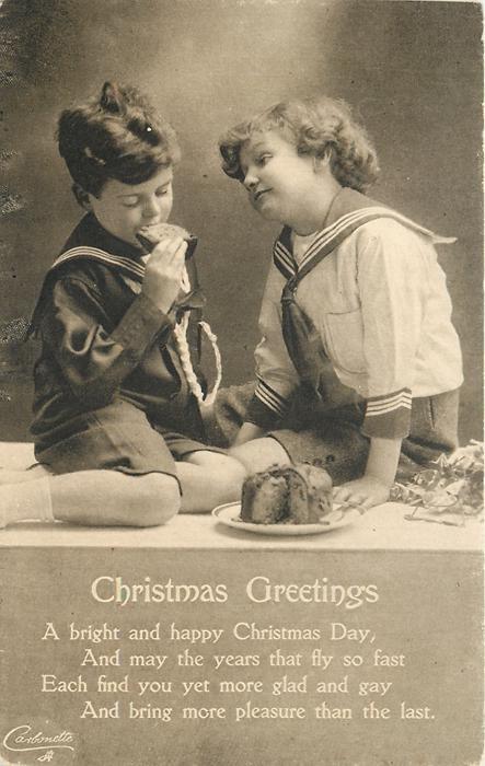 CHRISTMAS GREETINGS  (boy in dark sailor suit eats cake)