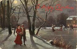 man in brown, woman in red with muff walking on snow left, ice skaters right, night scene