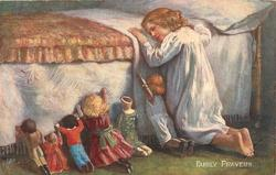 FAMILY PRAYERS, child and six dolls, one with only half a head, pray at bedside