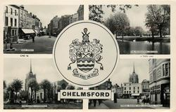 5 insets  HIGH STREET/THE RECREATION GROUND/coat of arms MANY MINDS ONE HEART/CHELMSFORD CATHEDRAL/TYNDALL SQUARE AND CATHEDRAL TOWER