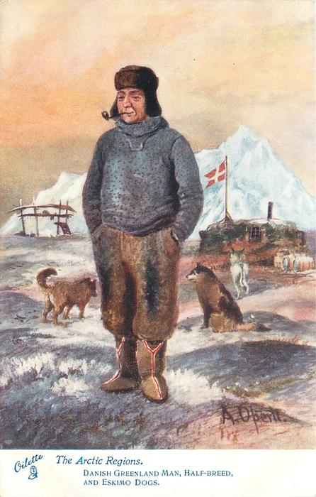 DANISH GREENLAND MAN, HALF-BREED, AND ESKIMO DOGS