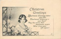 CHRISTMAS GREETINGS  head & shoulders of lady, trellis to left