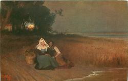 woman & girl sit on beach, basket left, moon on horizon among trees