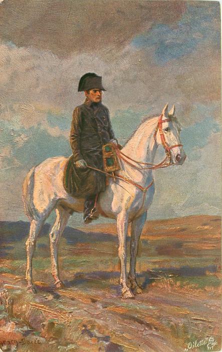 NAPOLEON IN DER SCHLACHT BEI LEIPZIG  napoleon on white horse facing right