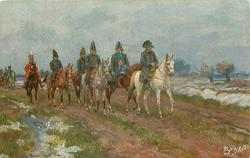 NAPOLEON IN RUSSLAND  Napoleon rides right, leading officers, snow around