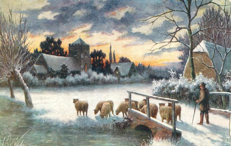 nine sheep on or near bridge, man with cane follows