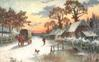 horse and wagon going down road with houses on right and dog barking at little pond, person walking toward house