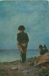 NAPOLEON IM EXIL Napoleon stands looking away out to sea, two officers recline in background