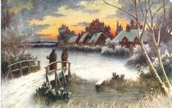 man and lady on bridge overlooking frozen lake
