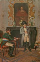 NAPOLEON BEFIEHIT DEN EINMARSCH NACH RUSSLAND  Napoleon stands before fire-place, aide sits writing