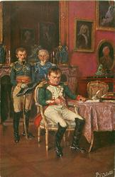 NAPOLEONS ABDANKUNG  Napoleon's abdication, he sits sadly on chair by table, two Generals stand behind