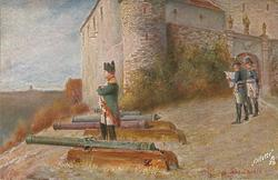 Napoleon looks out with arms folded, stands between four cannon, two officers to right read map on the way to st. helena