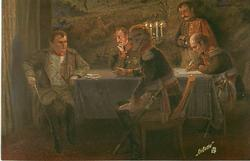 seated at table with three others, lighted candlestick on table, before the battle for leipzig
