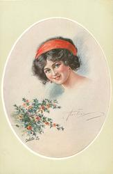 insert of pretty black haired girl, with red head band, looking front, holly lower left