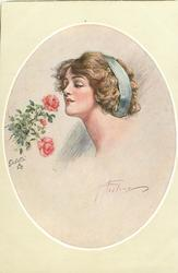 insert of pretty brunette, with blue head band, looking left at roses