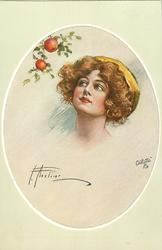 insert of pretty brunette, with yellow head band, looking left & up at apples