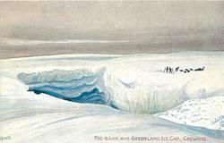 FOG - BANK AND GREENLAND ICE CAP, CREVASSE