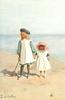 two girls stand hand in hand on sandy beach with bucket & spade