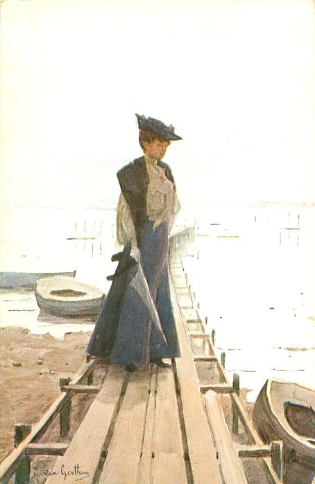 woman stands on dock facing right