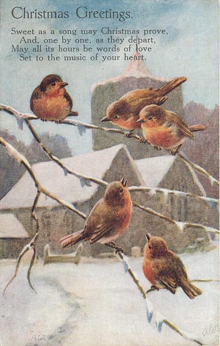 CHRISTMAS GREETINGS  five robins on branches before snowy church