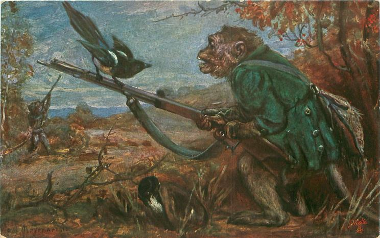 dressed ape holds gun, magpie perches on barrel