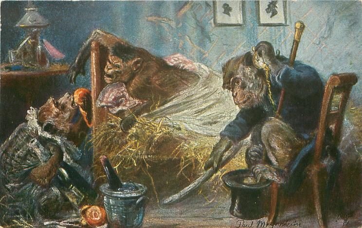 dressed ape sits on chair holding watch to ear, foot on top-hat, another clutches bottle at head of bed, another ape in bed