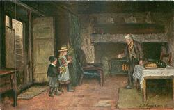 two children visit old man standing by table in front of fire