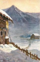 AN ALPINE INN IN THE SNOW