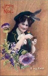 A WEE PINCH  girl with snuff box, thistles