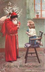 A WELCOME CHRISTMAS VISITOR santa with toys & tree talks to boy kneeling on chair