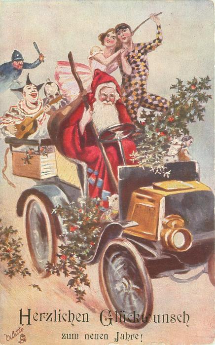 HERZLICHEN GLUCKWUNSCH ZUM NEUEN JAHRE!  santa drives car to right, clowns in back, police further back