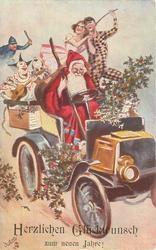 HERZLICHEN GLUCKWUNSCH ZUM NEUEN JAHRE!  santa drives car to right, clowns in back, police further back