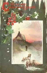 inset small house lower right , snow scene,man watches sheep coming forward on road, holly