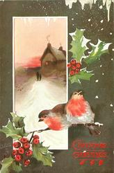inset two people walking on snowy road to house in evening, two robins below right, holly