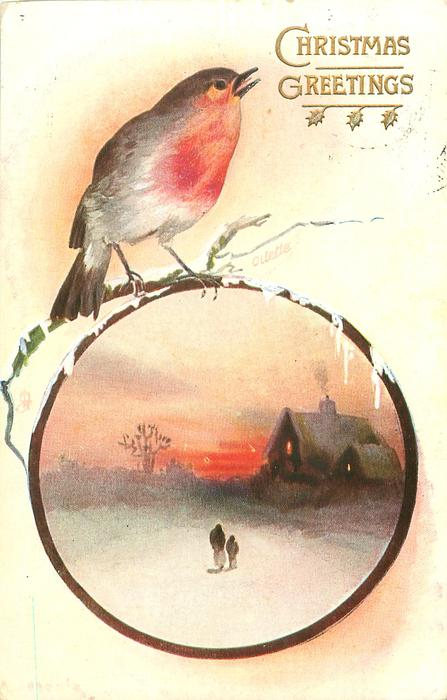 robin above circle inset snow scene, sunset with two figures walking to house back right