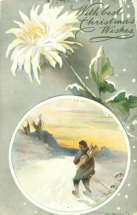 circular inset man with sticks on his back walks away, single white mum above