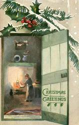 door open on right with woman cooking over fire inside, snowy holly above