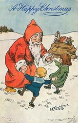 Santa playing ring-around-the-roses  with  boy and girl