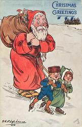 """COME ALONG, YOU DEAR OLD THING!""  two children on skates pull Santa also on skates"