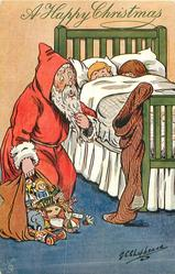 """OH DEAR! WHAT A SIZE!""  disconcerted Santa looks at huge stocking, two children peek over covers"