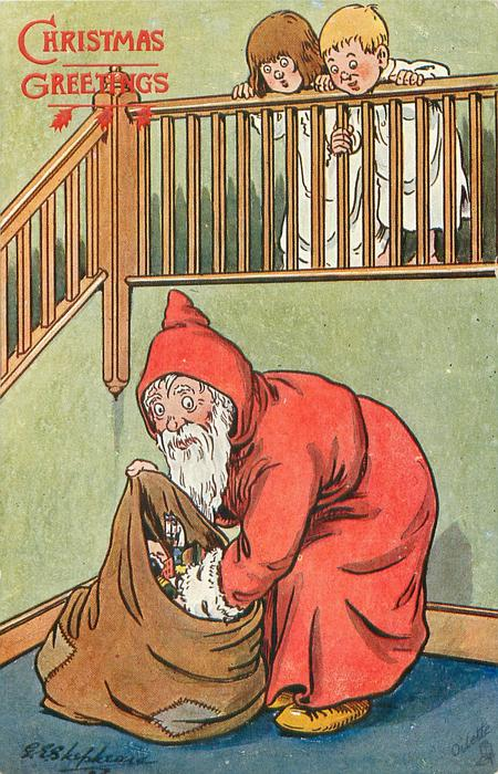 """I MUSTN'T WAKE THEM.""  Santa looks in sack, two children peer over bannisters"