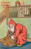 """""""I MUSTN'T WAKE THEM.""""  Santa looks in sack, two children peer over bannisters"""